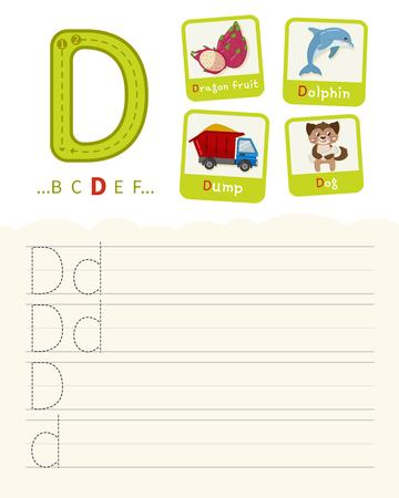 Handwriting practice sheet. Basic writing. Educational game for children. Learning the letters of the English alphabet. Cards with objects. Letter D Illustration