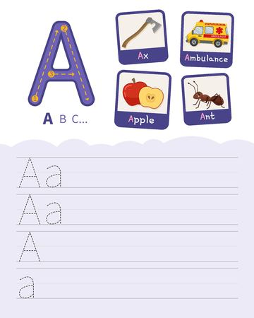 Handwriting practice sheet. Basic writing. Educational game for children. Learning the letters of the English alphabet. Cards with objects. Letter A.