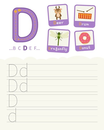 Handwriting practice sheet. Basic writing. Educational game for children. Learning the letters of the English alphabet. Cards with objects. Letter D.