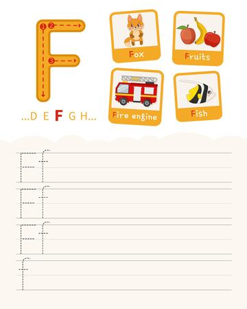 Handwriting practice sheet. Basic writing. Educational game for children. Learning the letters of the English alphabet. Cards with objects. Letter F