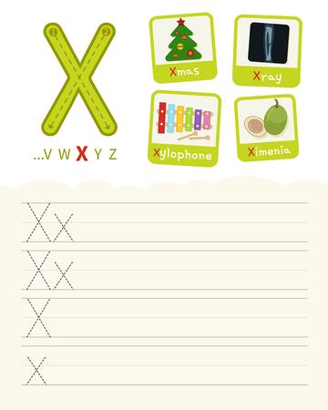 Handwriting practice sheet. Basic writing. Educational game for children. Learning the letters of the English alphabet. Cards with objects. Letter X.