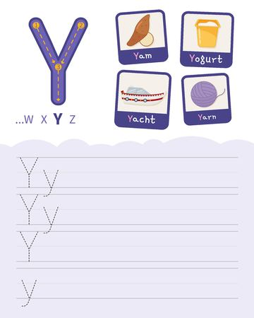 Handwriting practice sheet. Basic writing. Educational game for children. Learning the letters of the English alphabet. Cards with objects. Letter Y.