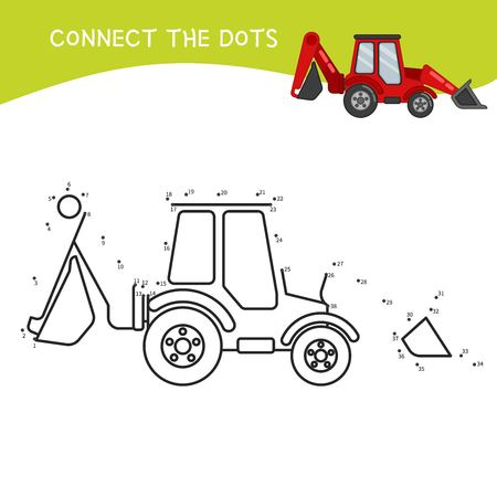 Educational game for kids. Dot to dot game for children. Cartoon construction equipment..