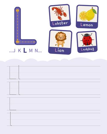 Handwriting practice sheet. Basic writing. Educational game for children. Learning the letters of the English alphabet. Cards with objects. Letter L.