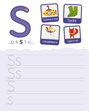 Handwriting practice sheet. Basic writing. Educational game for children. Learning the letters of the English alphabet. Cards with objects. Letter S.
