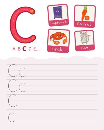Handwriting practice sheet. Basic writing. Educational game for children. Learning the letters of the English alphabet. Cards with objects. Letter C. Illustration