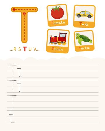 Handwriting practice sheet. Basic writing. Educational game for children. Learning the letters of the English alphabet. Cards with objects. Letter T. Illustration