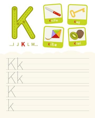 Fiche pratique d'écriture. Ecriture de base. Jeu éducatif pour les enfants. Apprendre les lettres de l'alphabet anglais. Cartes avec des objets. Lettre K. Vecteurs
