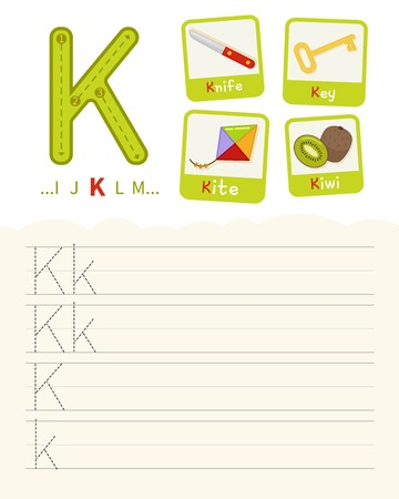 Handwriting practice sheet. Basic writing. Educational game for children. Learning the letters of the English alphabet. Cards with objects. Letter K.