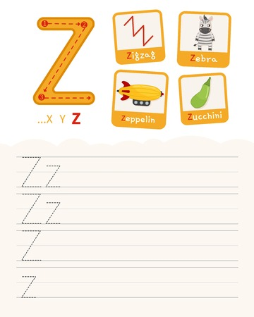 Handwriting practice sheet. Basic writing. Educational game for children. Learning the letters of the English alphabet. Cards with objects. Letter Z. Illustration
