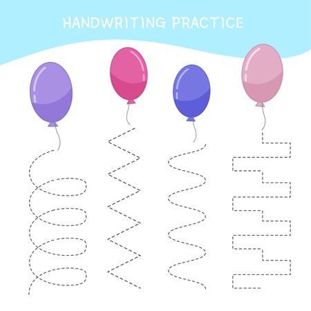 Handwriting practice sheet. Basic writing. Educational game for children. Cartoon Balloon.