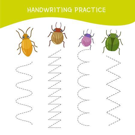 Hoja de práctica de escritura a mano. Escritura básica. Juego educativo para niños. Insectos de dibujos animados. Ilustración de vector