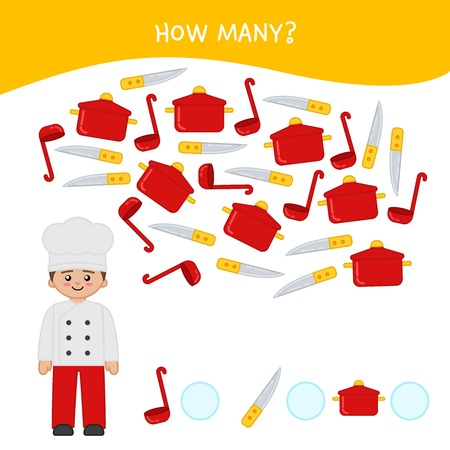 Counting educational children game, math kids activity sheet. How many objects task. Cartoon cook and equipment. Illustration