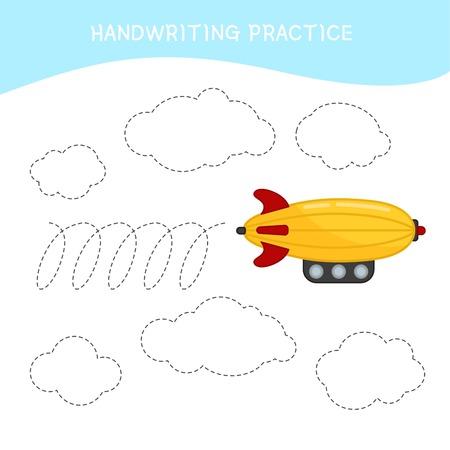 Foglio di pratica della scrittura a mano. Scrittura di base. Gioco educativo per bambini. Aereo dei cartoni animati. Vettoriali