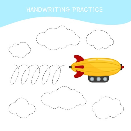 Handwriting practice sheet. Basic writing. Educational game for children. Cartoon aircraft. Illustration