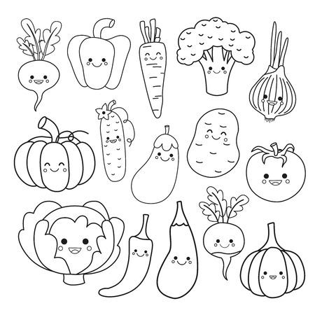 Ensemble de vecteurs de légumes mignons. Livre de coloriage pour les enfants. Vecteurs