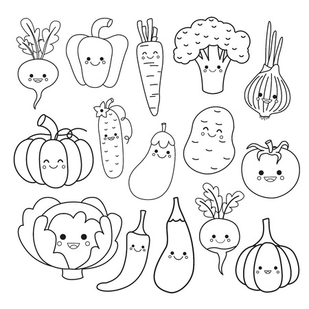 Vektorset süßes Gemüse. Malbuch für Kinder. Vektorgrafik