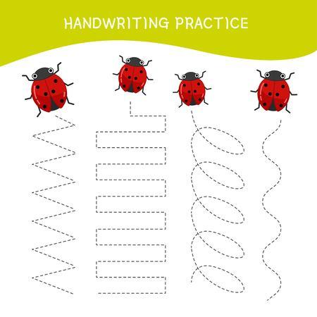 Hoja de práctica de escritura a mano. Escritura básica. Juego educativo para niños. Mariquita de dibujos animados.