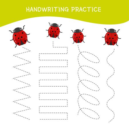 Handwriting practice sheet. Basic writing. Educational game for children. Cartoon ladybug.
