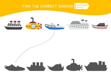 Jeu éducatif pour les enfants. Trouvez la bonne ombre. Activité pour enfants avec transport par eau de dessin animé.