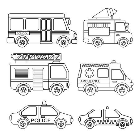 Wektor zestaw transportu specjalnego. Kolorowanka dla dzieci. Ilustracje wektorowe