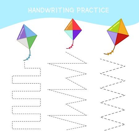 Handwriting practice sheet. Basic writing. Educational game for children. Cartoon kite.