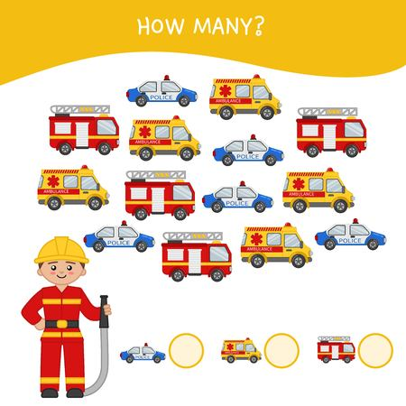 Counting educational children game, math kids activity sheet. How many objects task. Cartoon fireman and cars.