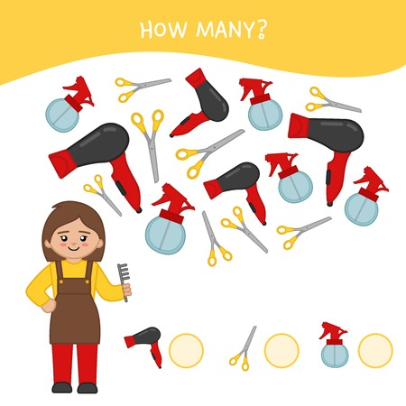 Counting educational children game, math kids activity sheet. How many objects task. Cartoon hairdresser and equipment