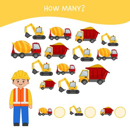 Counting educational children game, math kids activity sheet. How many objects task. Cartoon worker and trucks.