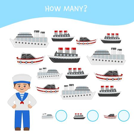 Counting educational children game, math kids activity sheet. How many objects task. Cartoon sailor and boat.
