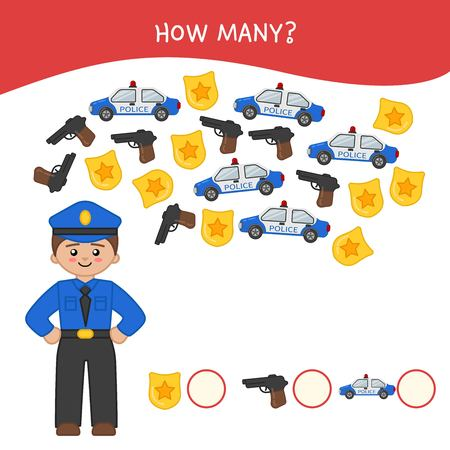Counting educational children game, math kids activity sheet. How many objects task. Cartoon policeman. Illusztráció