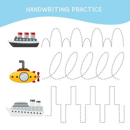 Handwriting practice sheet. Basic writing. Educational game for children. Cartoon ships.