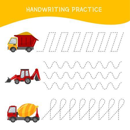 Handwriting practice sheet. Basic writing. Educational game for children. Cartoon transport. Illustration