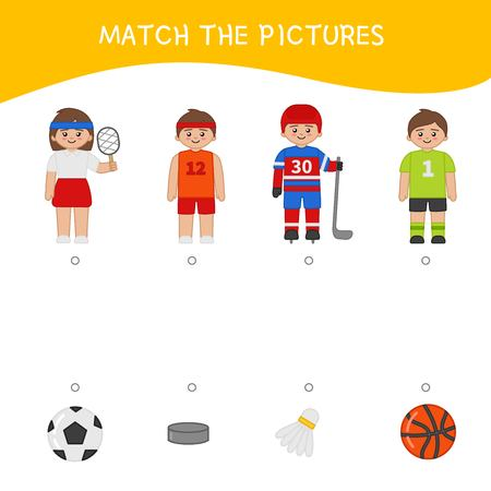 Matching children educational game. Match of profession and equipment . Activity for pre sсhool years kids and toddlers. Illusztráció