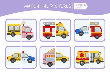 Matching children educational game. Match parts of cars. Activity for pre shool years kids and toddlers.
