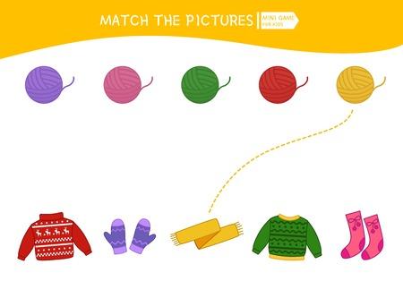 Jeu éducatif pour enfants assortis. Match de fil et de vêtements. Activité pour les enfants et les tout-petits d'âge préscolaire.