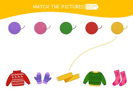 Matching children educational game. Match of yarn and clothing. Activity for pre sсhool years kids and toddlers.