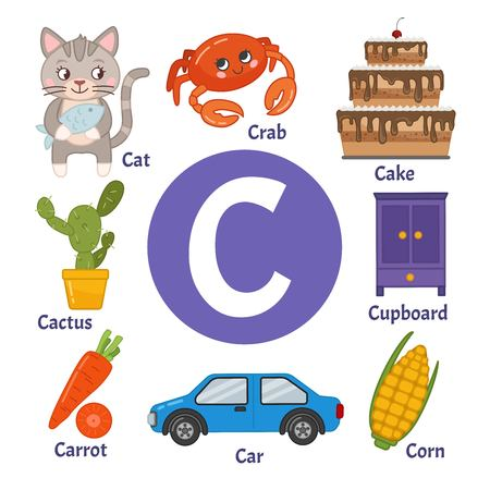 Apprendre l'alphabet de la carte. Lettre C. Ensemble d'illustrations de dessins animés mignons.