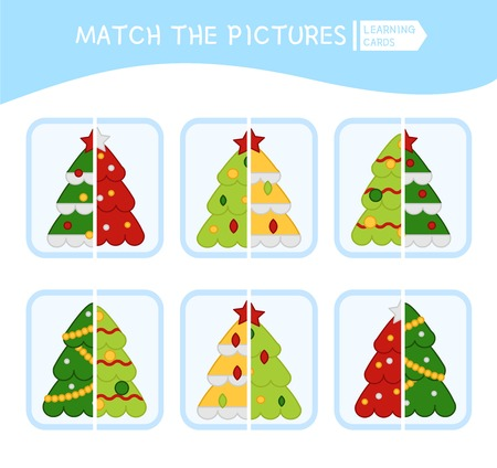 Matching children educational game. Match parts of christmas tree. Activity for pre sсhool years kids and toddlers. Illustration