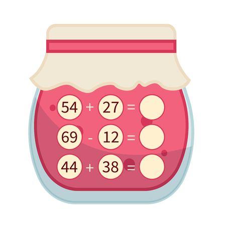 Counting educational children game, math kids activity sheet. Math game. Cartoon jam. Vettoriali