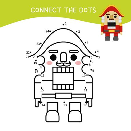 Educational game for kids. Dot to dot game for children. Cartoon nutcracker toy .