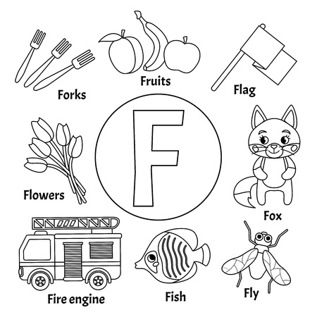 Vector cute kids animal alphabet. Letter F. Set of cute cartoon illustrations. Coloring page. Illusztráció