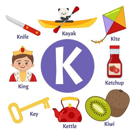 Alphabet animaux vecteur enfants mignons. Lettre K. Ensemble d'illustrations de dessins animés mignons.