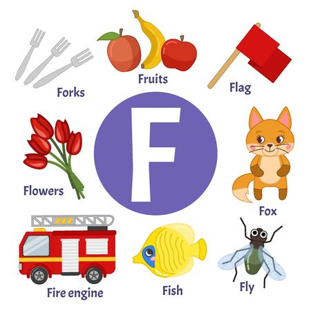 Vector cute kids animal alphabet. Letter F. Set of cute cartoon illustrations.