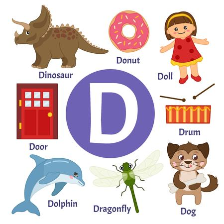 Vector cute kids animal alphabet. Letter D. Set of cute cartoon illustrations.