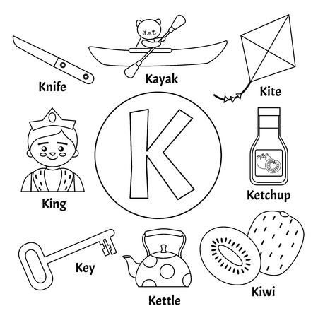 Vector cute kids animal alphabet. Letter K. Set of cute cartoon illustrations. Coloring page. Ilustração