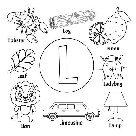 Wektor ładny alfabet zwierząt dla dzieci. Litera L. zestaw ilustracji kreskówka. Kolorowanka.