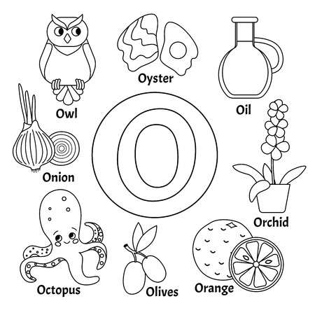 Vector cute kids animal alphabet. Letter O. Set of cute cartoon illustrations. Coloring page.