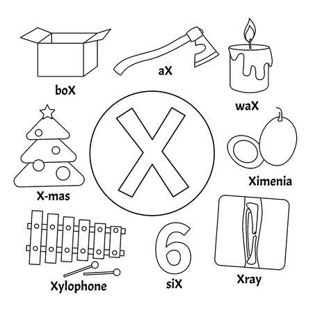 Alphabet animaux vecteur enfants mignons. Lettre X. Ensemble d'illustrations de dessins animés mignons. Coloriage.