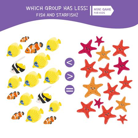 Counting educational children game, math kids activity sheet. How many objects. Cartoon sea animals..